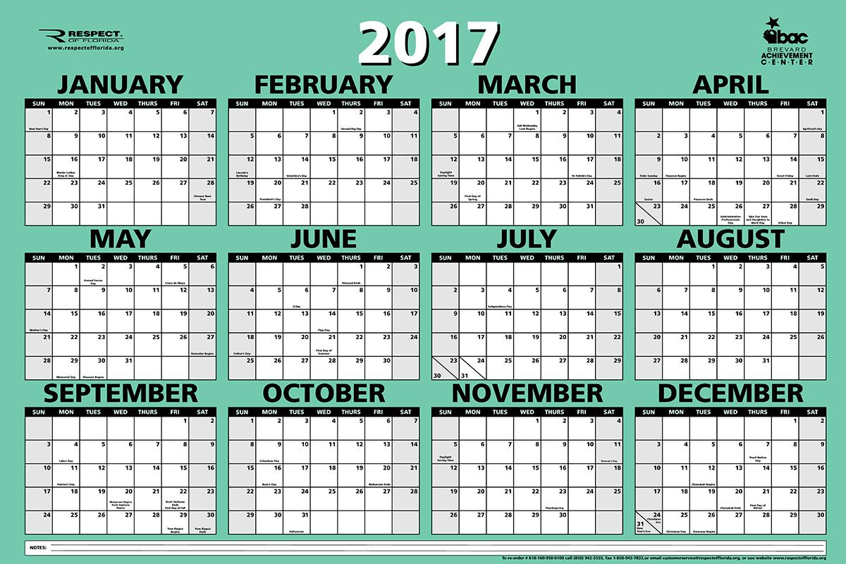 twelve month calendar 2018