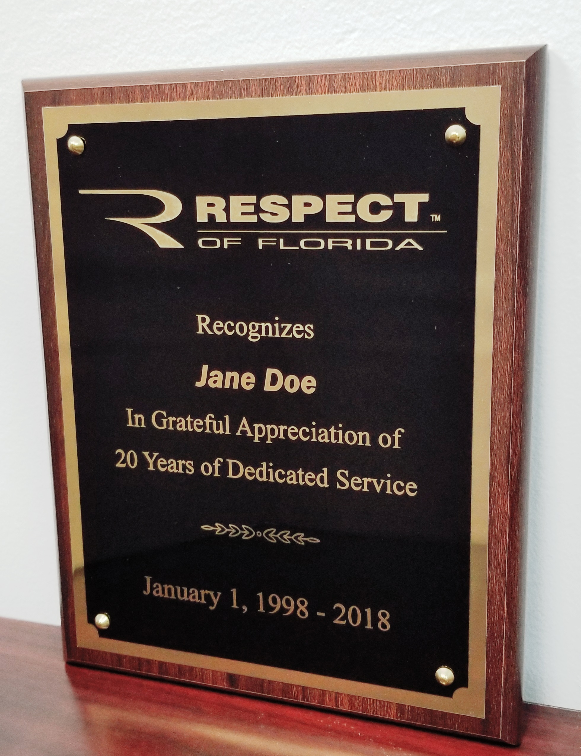 4 x 6 in. Award Plaque - Non-Contract Item